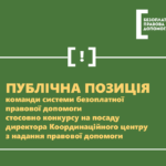 Команда системи безоплатної правової вимагає провести новий конкурс на посаду директора Координаційного центру