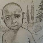 Тернополянка намалювала портрет хлопчика, який живе на цвинтарі